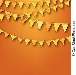 banderitas, pennants, otoñal, amarillo, decoración, naranja