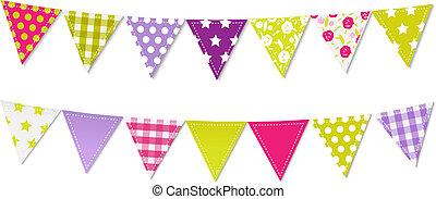 banderitas, triángulo, banderas