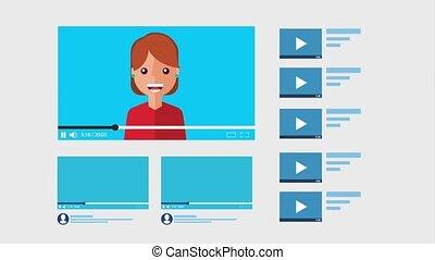 banderole, ligne, girl, vidéo, blogger, canal