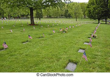 bandery, dekorować, weterani, groby, na, willamette, rodak...