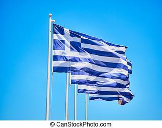 bandery, od, grecja, falować, na, niejaki, błękitny, sky.