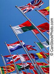 bandery, od, kraje, dokoła świat