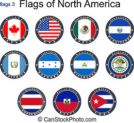 bandery, od, północ, america., bandery, 3.