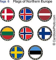bandery, od, północ, europe., bandery, 6.