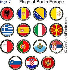 bandery, od, południe, europe., bandery, 7.