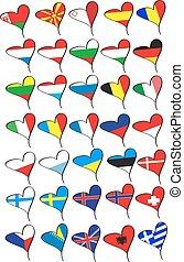 bandery, od, przedimek określony przed rzeczownikami, kraje, od, europa
