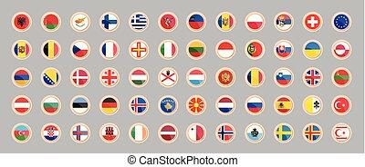 bandery, od, przedimek określony przed rzeczownikami, kraje, od, europe.