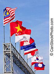bandery, od, przedimek określony przed rzeczownikami, narody, dookoła, przedimek określony przed rzeczownikami, world.