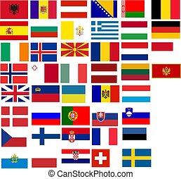 bandery, od, wszystko, europejczyk, country., ilustracja, na, białe tło