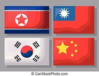 bandery, projektować, asian