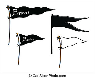 bandery, statek, pokój, -, piraci