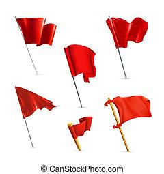 bandery, wektor, komplet, czerwony, ikona