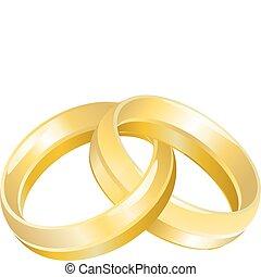 bandes, anneaux, ou, mariage