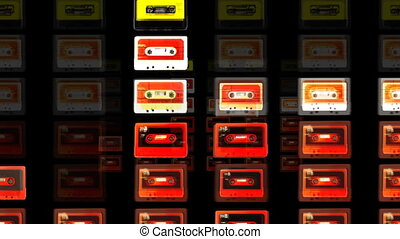 bandes, arrêt, collection, mouvement, cassette, frais