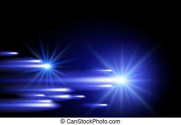 bandes, néon, étoiles, briller