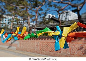 bandes, papier couleur, voeux, year), pendant, nouveau, seollal, (korean, confection