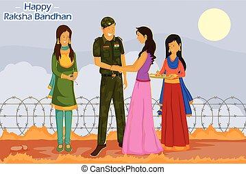 bandhan, rakhi, raksha, żołnierz, przywiązywanie, dziewczyna
