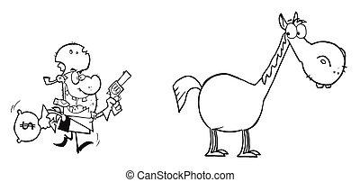 bandido, corriente, hacia, el suyo, caballo