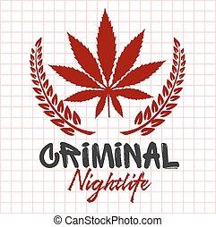 bandidos, e, hooligans, -, emblema, de, criminal, nightlife