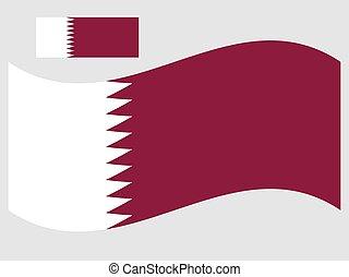 bandiera, 10, illustrazione, vettore, eps, onda, qatar