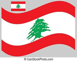 bandiera, 10, vettore, libano, onda, eps, illustrazione