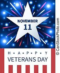 bandiera, 11, veterani, novembre, giorno, firework