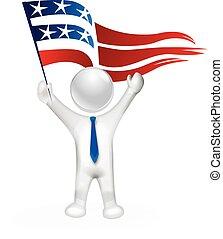 bandiera, 3d, stati uniti, uomo