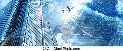 bandiera, affari, futuristico, grattacielo