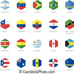 bandiera, america, caraibico, sud