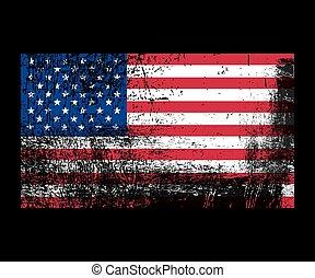 bandiera, america, grunge