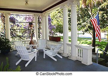bandiera americana, appendere, casa, veranda
