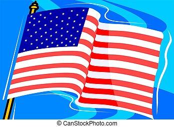bandiera americana, con, uno, fondo