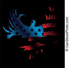 bandiera americana, e, aquila, vettore, arte
