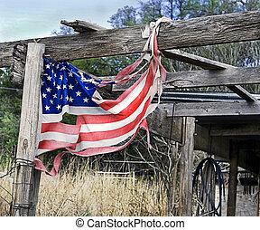 bandiera americana, in, tatters