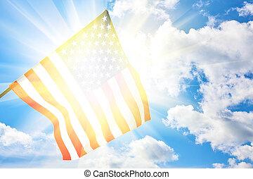 bandiera americana, su, cielo blu