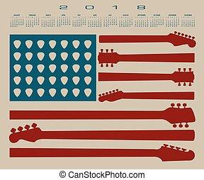 bandiera, americano, calendario, 2018