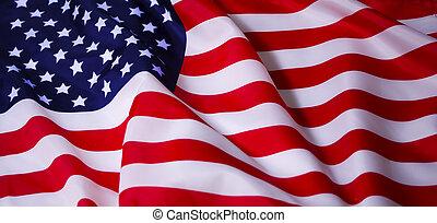 bandiera, americano, ondeggiare
