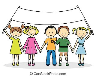 bandiera, amici, bambini