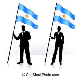 bandiera, argentina, ondeggiare, silhouette, affari