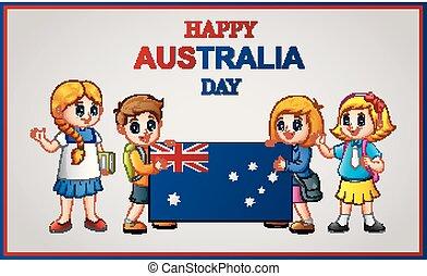 bandiera australia, bambini, presa a terra, giorno, felice