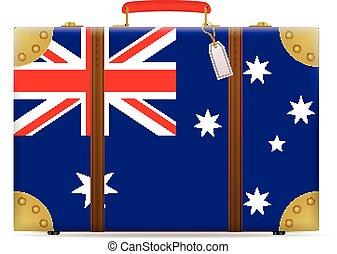 bandiera, australia, viaggiare, valigia