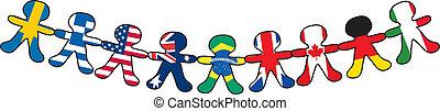 bandiera, bambole carta
