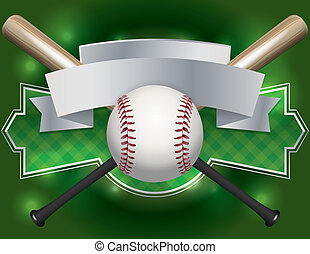 bandiera, baseball, emblema, illustrazione
