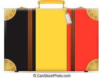bandiera belgio, viaggiare, valigia