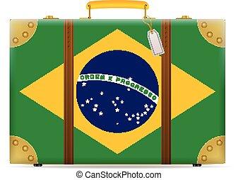 bandiera brasile, viaggiare, valigia