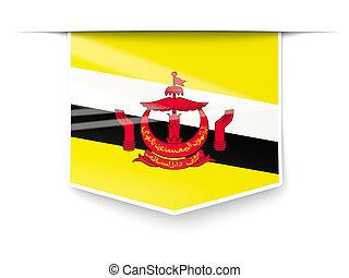 bandiera brunei, quadrato, etichetta