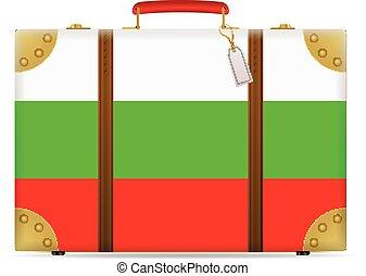 bandiera, bulgaria, viaggiare, valigia