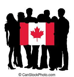 bandiera canada, giovani persone
