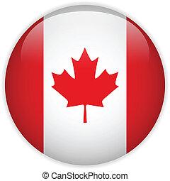 bandiera canada, lucido, bottone