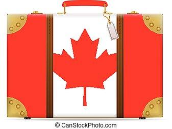 bandiera canada, viaggiare, valigia